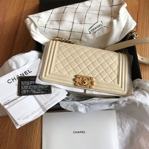 Chanel old medium boy leboy lambskin